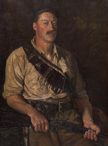 Henry Justice Ford Portrait of Richard John Cunninghame (1871-1925), three-quarter length, holding a shotgun 101 x 76cm