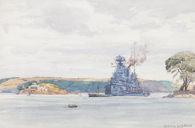 Norman Wilkinson British battleship 31 x 49cm