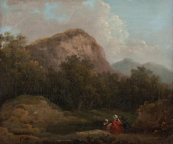 George Morland Travellers in a mountain landscape 25 x 30cm