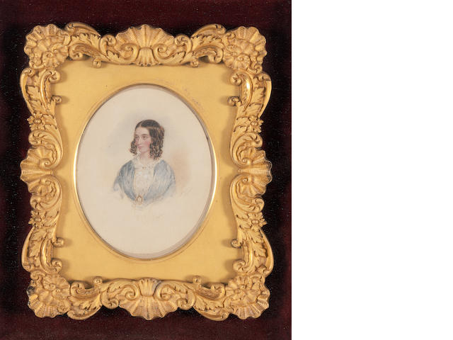 F Fisher, 1843 Lady in ringlets 17 x 15cm, oval