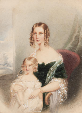 Charles Forster (British, active 1709-1717) Portrait of Mrs Graham (née Maria Hasel) and her daughter Emily