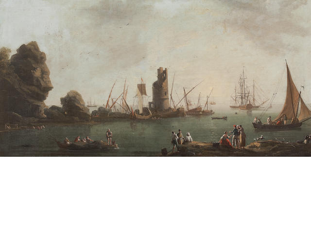 Studio of Claude-Joseph Vernet A Mediterranean harbour scene with shipping and figures, a ruined tower beyond 53 x 101cm