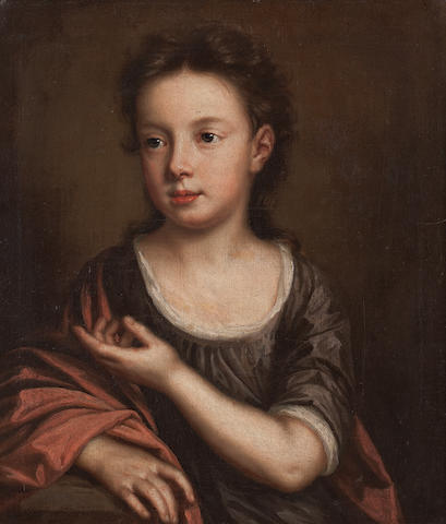 School of Sir Godfrey Kneller, Bt Portrait of a small child, three-quarter length, wearing a brown dress and red cloak 52 x 44cm