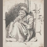 Walter Geikie Woman seated in a doorway 11 x 9cm