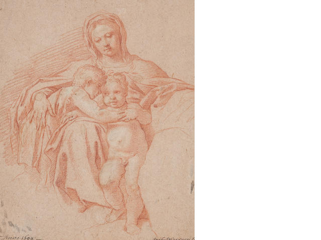 After Annibale Carracci Virgin and two children 22 x 17cm