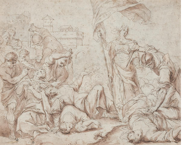 Bolognese school, circa 1650 The martyrdom of the Ursuline virgins  16 x 20cm