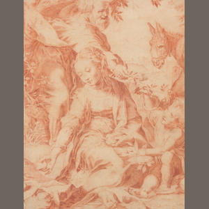 After Federico Barocci The rest on the flight into Egypt 15 x 20cm