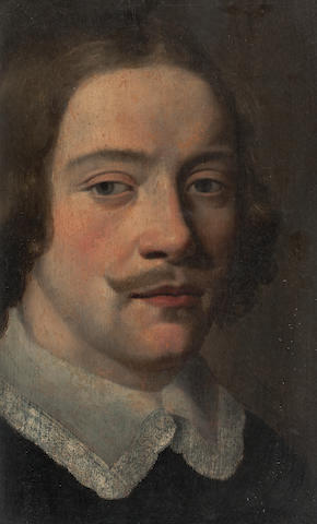 French School, (17th century) Head of a man wearing a black coat and a white lace collar