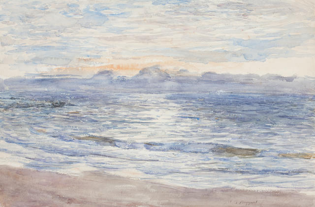 William McTaggart, RSA RSW (British, 1835-1910) Sunset, Machrihanish 34 x 52 cm. (13 3/8 x 20 1/2 in.)