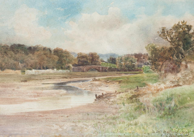 Lily Blatherwick River landscape<BR />watercolour<BR />30 x 45cm<BR />And another two by Hotchiss and another