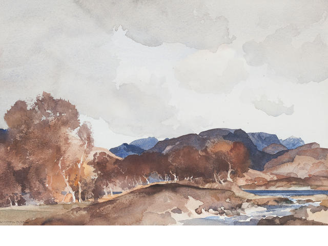 Sir William Russell Flint Loch Earn 25 x 35cm