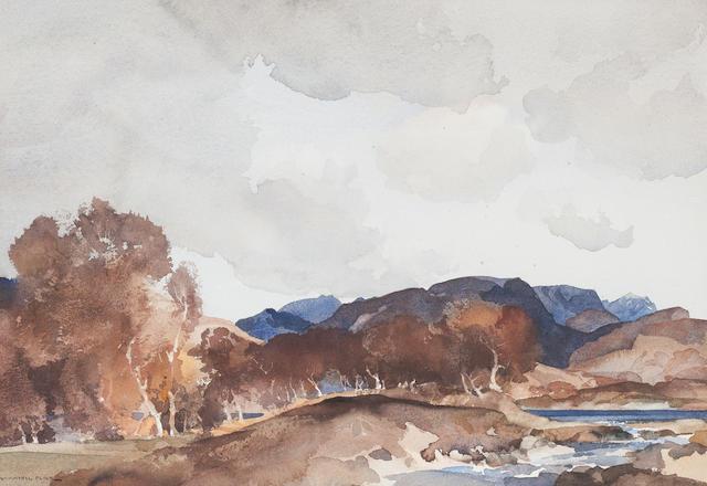 Sir William Russell Flint Loch Earn 25 x 35cm