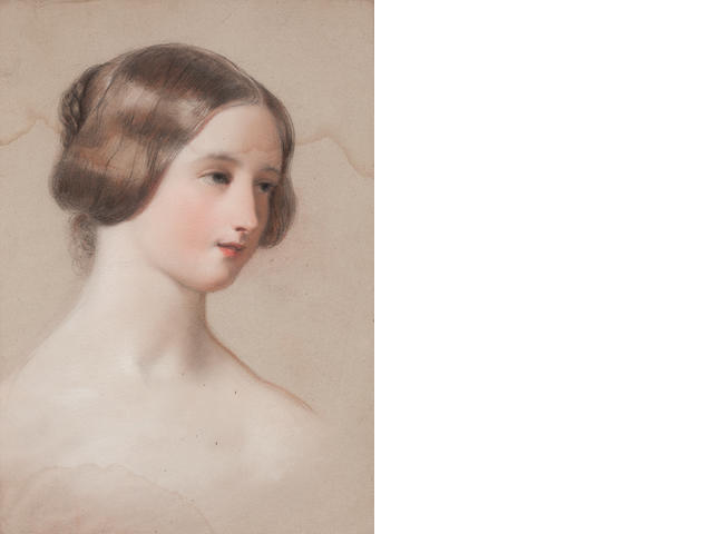 A quantity of portrait watercolours by Heaphy And a mid-19th century pastel of a lady