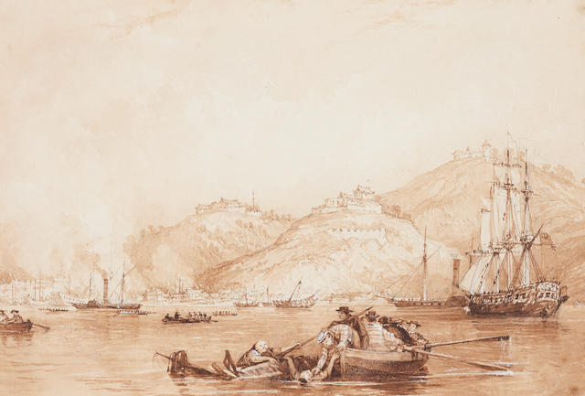 British School (early 19th century) Chinese Harbour 12 x 17cm
