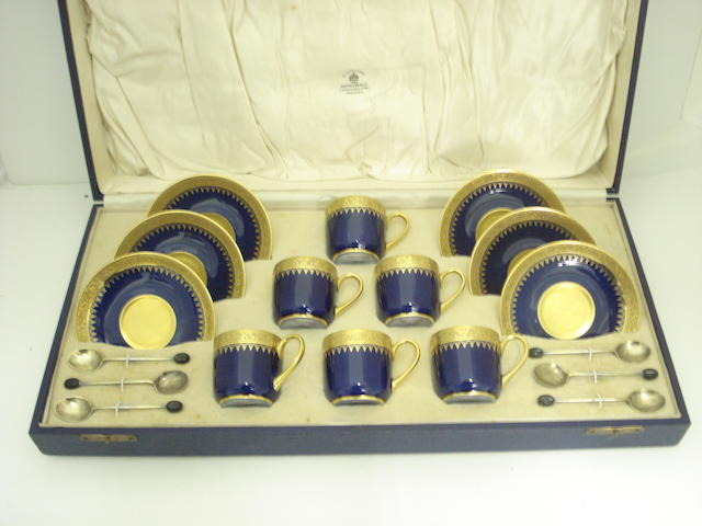 A Limoges cased coffee set retailed by Mappin & Webb Circa 1930