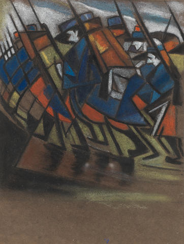 Christopher Richard Wynne Nevinson A.R.A. (British, 1889-1946) Marching troops 24.1 x 18.6 cm. (9 1/2 x 7 1/3 in.)