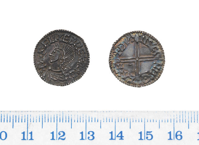Aethelred II, long cross type, Penny, 1.39g, Exeter, bare-headed draped bust left, with out sceptre,