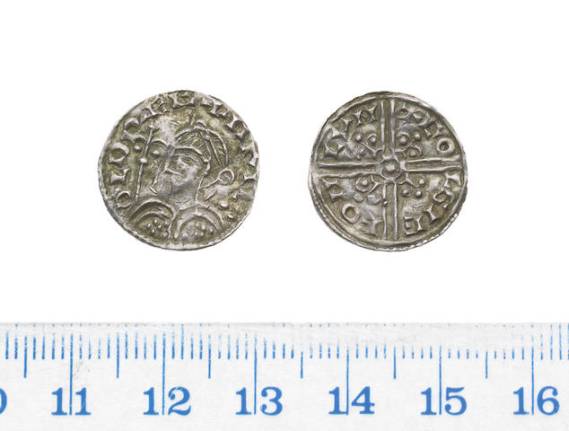 Harold, 1035-1040, long cross type, Penny, 1.00g, fleur de lis in place of trefoils, diademed bust left,
