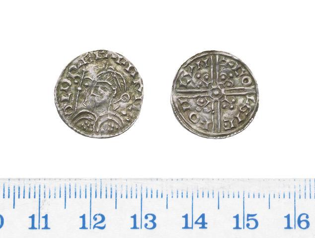 Harold, 1035-1040, long cross type, Penny, 1.00g, fleur de lis in place of trefoils, diademed bust left,