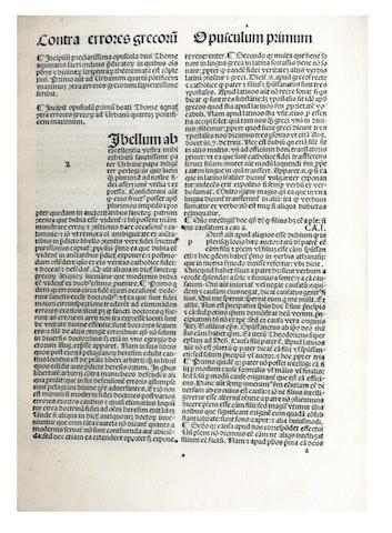 THOMAS AQUINAS, Saint. [Opuscula], 1490