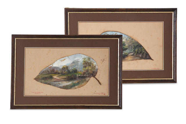 A pair of painted gum leaves titled 'Road to Healsville, Victoria' and 'Road to Mt Donna Buang, Warburton, Victoria'