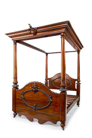 An Australian  cedar and rose mahogany four-poster double bed Circa 1860