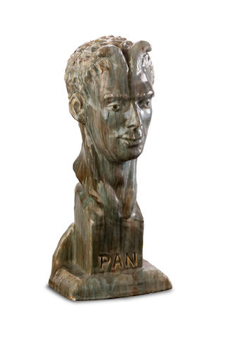 'Pan', a lifesize glazed earthenware bust of a satyr by Loma Lautoun (1902-1964), circa 1945