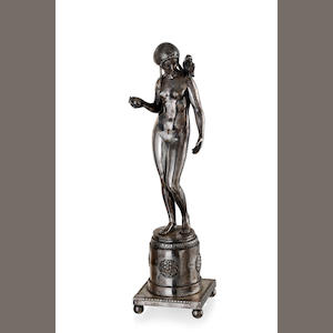 Ignatius Taschner (1871-1913) A German silvered bronze figure of a Girl with Apple and parrot