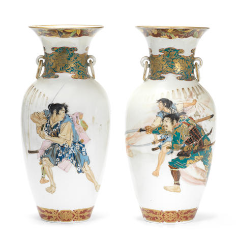 A pair of enamelled ovoid vases By Kawamoto Masukichi, Meiji Period