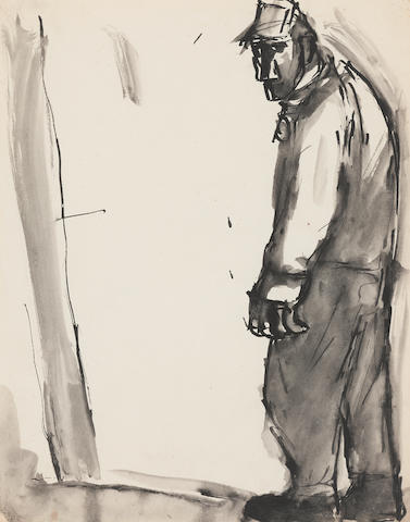 Josef Herman (British, 1911-1999) Notes from a Welsh Diary, man in profile