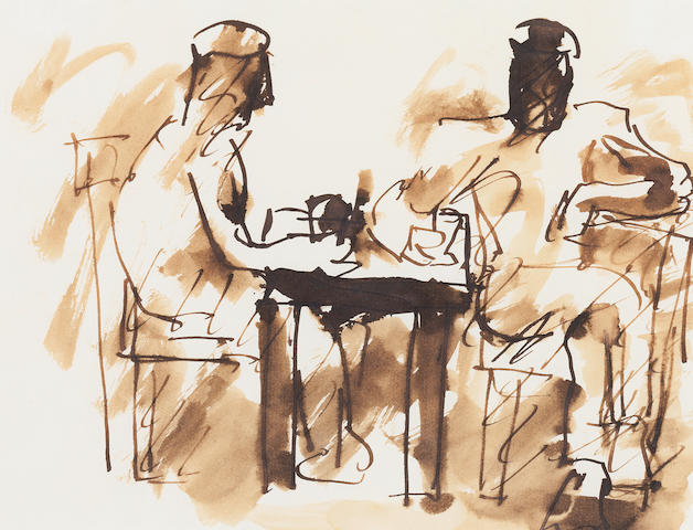 Josef Herman (British, 1911-1999) Notes from a Welsh diary, the diners