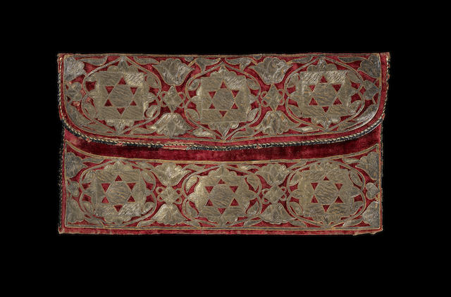 An embroidered red velvet Ottoman Purse Turkey, early 18th Century