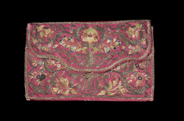 An embroidered red silk Ottoman Purse Turkey, 18th Century