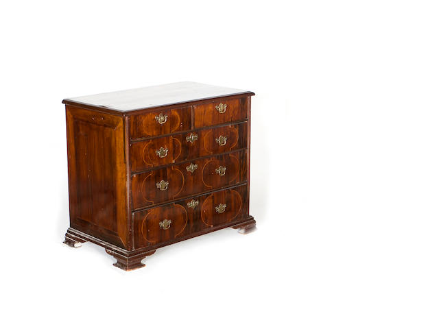 A William & Mary and later walnut, rosewood and line inlaid chest