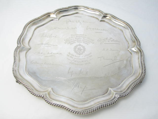 A silver salver by Walker & Hall, Sheffield 1935