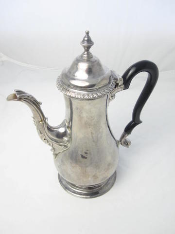 A George III coffee pot maker's mark rubbed, London 1767