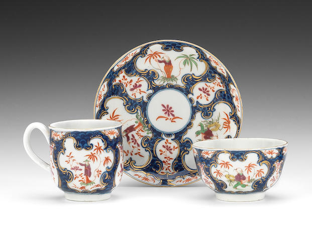 A fine Worcester teabowl, coffee cup and saucer from the Bodenham Service, circa 1767-68