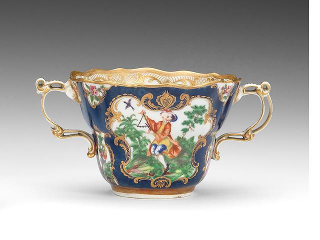 A rare Worcester chocolate cup, circa 1768-70