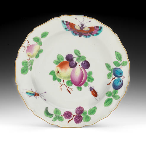 A Worcester plate decorated in the Giles workshop, circa 1765-70