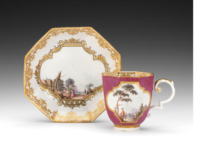 A rare Derby coffee cup and saucer in Meissen style, late 18th century