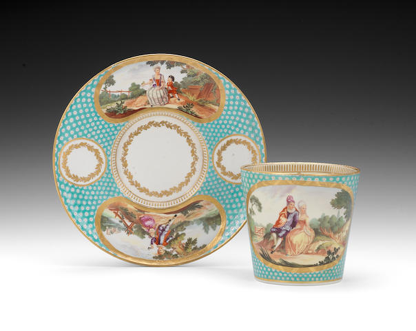 A finely painted Chelsea Derby trembleuse cup and saucer, circa 1778-81