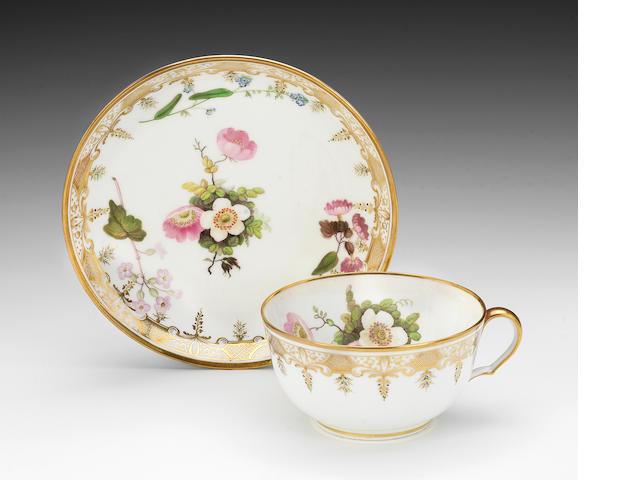 A good Swansea teacup and saucer, circa 1815-17
