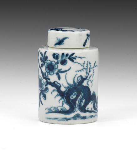 A rare Worcester miniature tea canister and cover, circa 1765
