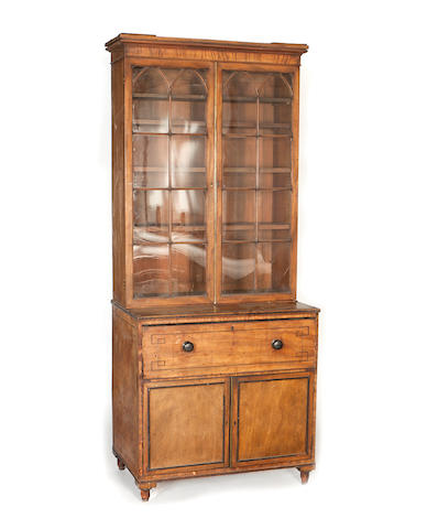 A Regency mahogany and ebony lined secretaire bookcase,