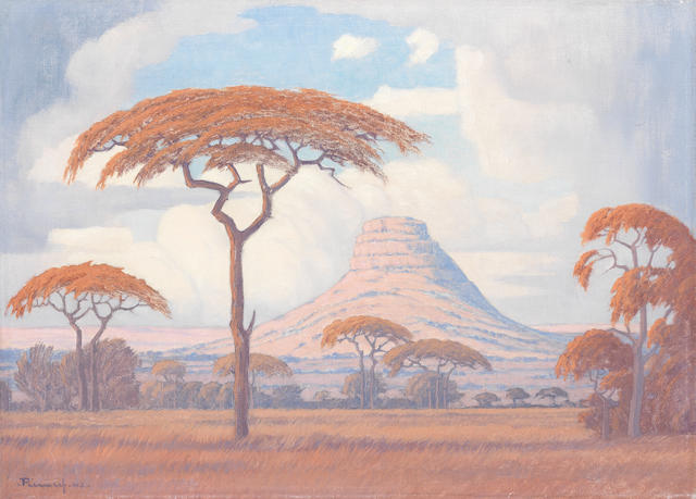 Jacob Hendrik Pierneef (South African, 1886-1957) Acacias with Kranskop beyond, Limpopo Province