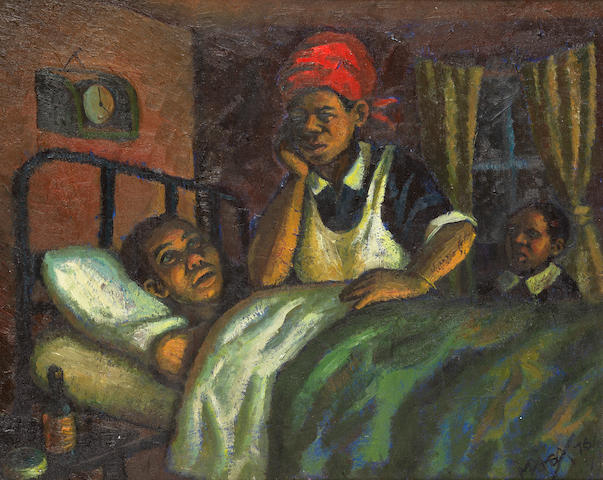 George Mnyalaza Milwa Pemba (South African, 1912-2001) Between life and death