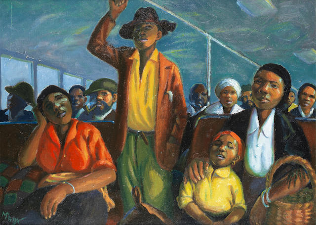 George Mnyalaza Milwa Pemba (South African, 1912-2001) 'In the bus'