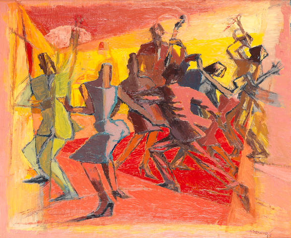 Gerard Sekoto (South African, 1913-1993) The jazz band
