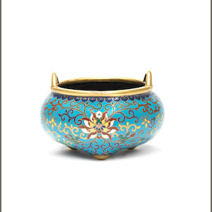 A cloisonné enamel tripod incense burner, Qianlong mark and of the period