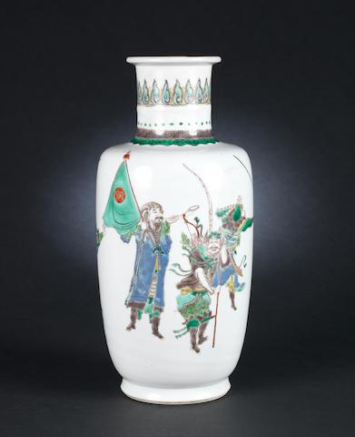 A famille verte rouleau vase Kangxi